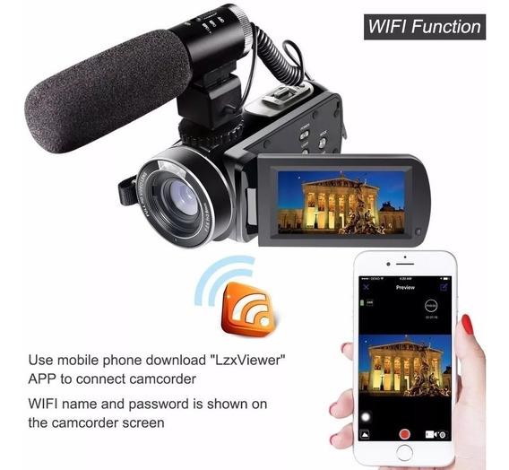 Câmera, Digital,filmadora, Com, Microfone, Externo Full Hd