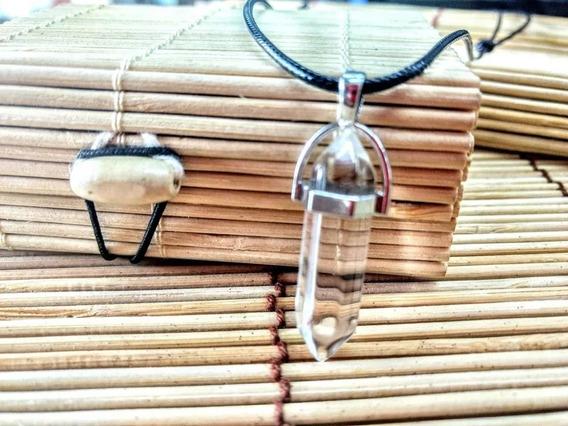 Colar Cordão Couro Pedra Cristal Unissex Pingente Brilhante