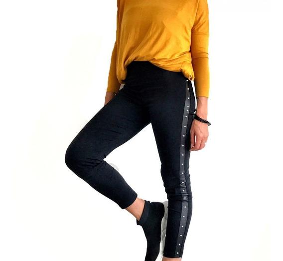 Pantalón Calza Orion Con Tachas Negro Opaco (3901)