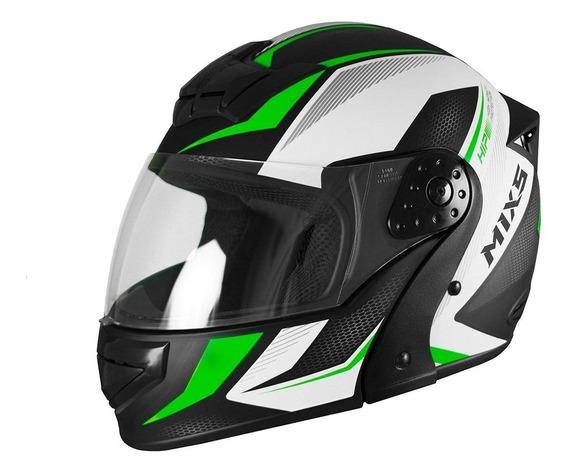 Capacete para moto escamoteável Mixs Gladiator Neo Fosco verde tamanho 56