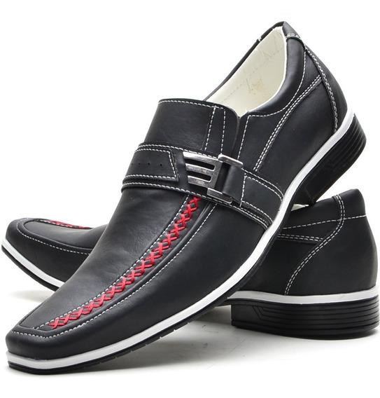 Sapatos Social Masculino Casual Fino Slim Preto Promoção