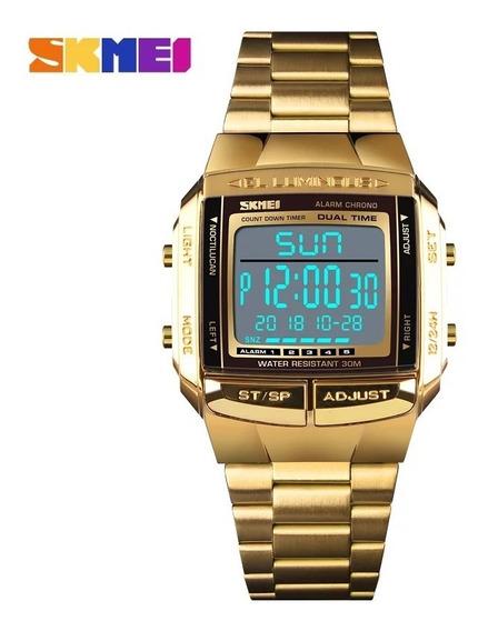 Relógio Skmei 1381 Dourado Retro Digital Promoção