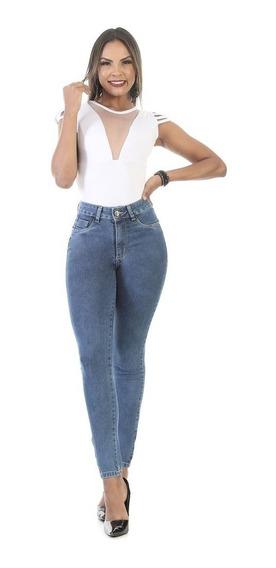 Calça Jeans Feminina Cigarrete Cintura Media Levantar Bumbum