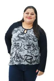 513ef1428 Blusa Feminina Plus Size De Malha Com Estampa Preta