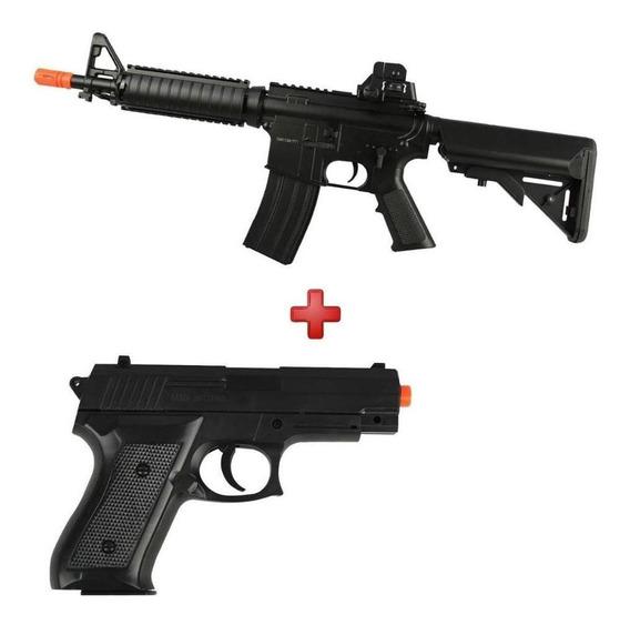 Rifle Fuzil M4 Cqb Aeg Bivolt Cm176 + Pistola Spring P1918