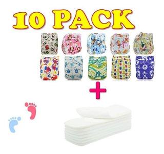 Paquete 10 Pañales Ecológicos Estampados + 10 Insertos