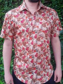 Camisa Caveira Social Masculina Rosa Vermelha Floral Florida