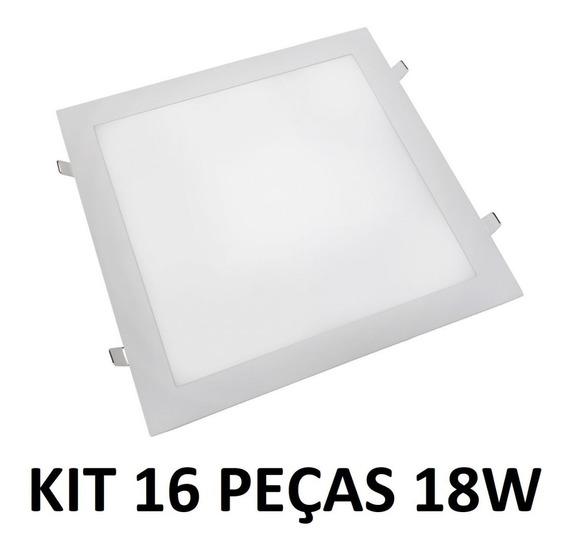 Kit 16 Painel Plafon Luminaria Led Quadrado Embutir Slim 18w