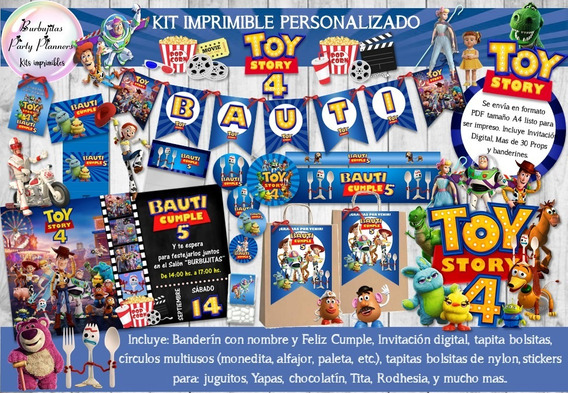Kit Imprimible Candy Bar Toy Story 4 Personalizado