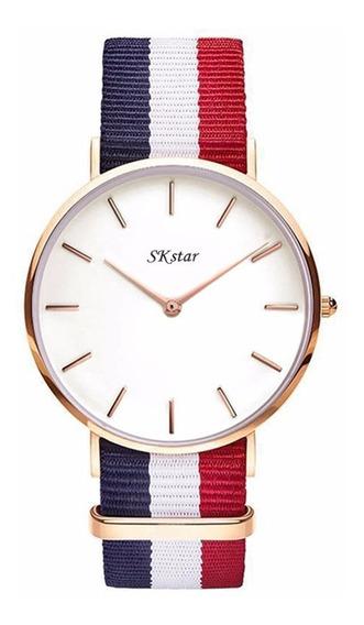 Relógios De Pulso Sk Star Pulseira Nylon - Pronta Entrega