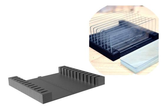Porta Lâminas Microscópio Suporte Vidro Mesa Case