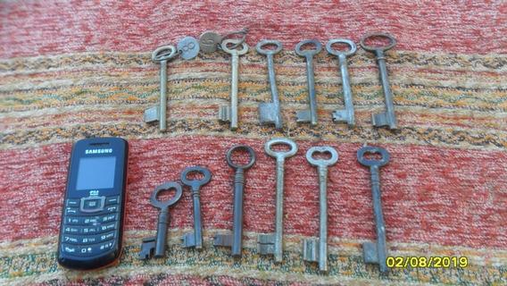 Lote 12 Antiguas Llaves Cerradura Puerta Candado Hierro Bce