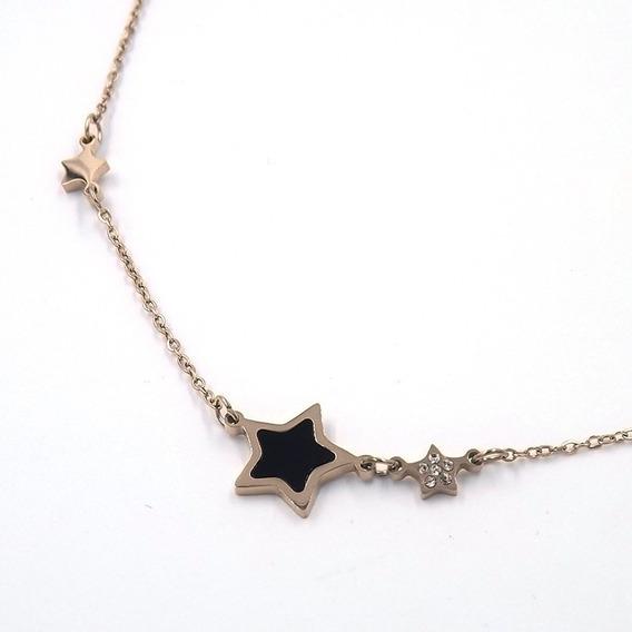 Collar Acero Color Oro Rosado Estrella De Obsidiana Eg