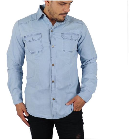Camisa Masculina Jeans Slim Importada Moda 2018 Toda Estação