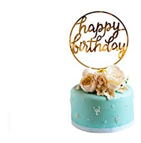 Letrero Pastel Feliz Cumpleaños Dorado Cupcakes Fiesta Plast