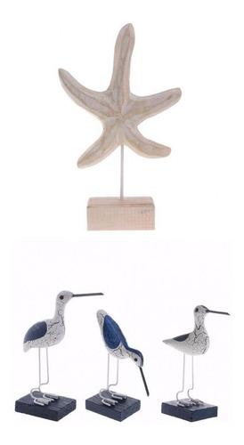 Pájaro De Mar Estrella De Mar Madera Adornos Estilo