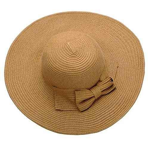 Ayliss Mujer Floppy Derby Sombrero Amplio Brim Playa Paja Su