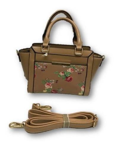 Imagen 1 de 6 de Bolso De Dama Mini Tote Diseño Flores Con Correa Ajustable