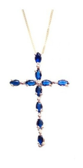 Cordão De Cruz Zircônia Azul Folheado A Ouro 18k