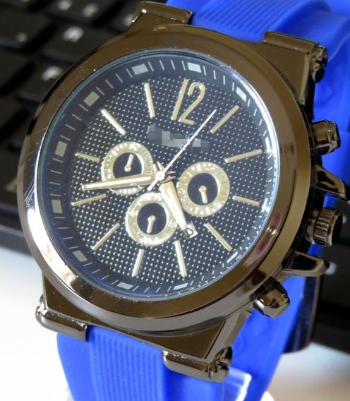 Relógio Azul Gold Preto Grande Moderno Na Caixa Moderno C186