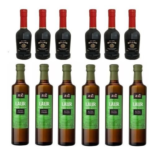 Imagen 1 de 10 de Aceite De Oliva Laur X 500ml Caja X 6 + Aceto Millán X 6