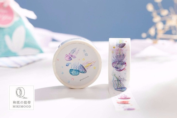 Fita Adesiva Washi Tape Scrapbook Anêmonas 20mm X 10m