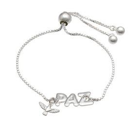 Pulseira Prata Gravatinha C/ Paz E Espírito Santo