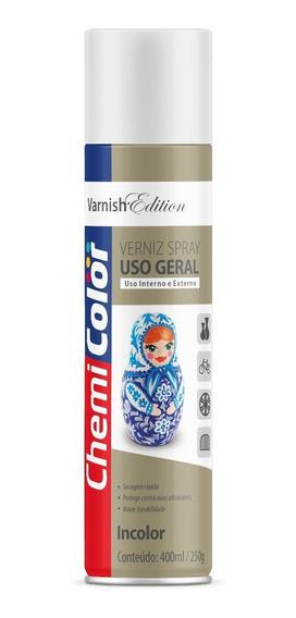Tinta Spray Verniz Incolor 400ml 250g Uso Geral Chemicolor