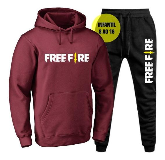 Conjunto Moletom Blusa De Frio Infantil Masculino Free Fire.