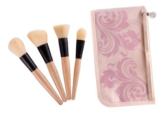 Set De 4 Brochas Para Rostro Face Makeup Cerdas Sintéticas Y Suaves Excelente Calidad Coastal Scents Original