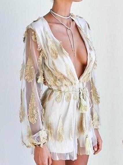 Vestido Mono Fiesta Bordado Plumita *myrvil*