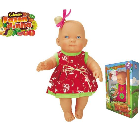 Boneca Com Vestidinho Vermelho Laço Fita Rosa Bonita Loira
