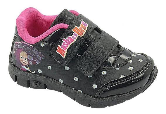 Calçado Infantil Pé Com Pé Tenis Preto Masha E Urso 20 Ao 27