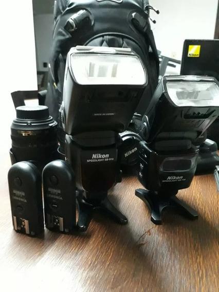 Kit Completo Nikon D7100 +flash+3 Lentes+mochila+acessórios