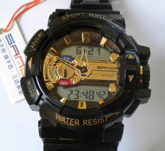 Relógio Pulso S Shock Sanda Preto & Ouro Executivo Digital