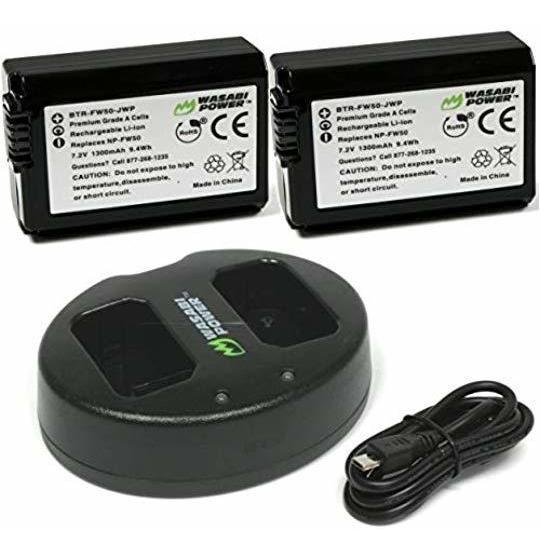 2 Bateria De Camara Wasabi Power Np-fw50 Y Cargador Usb Dual
