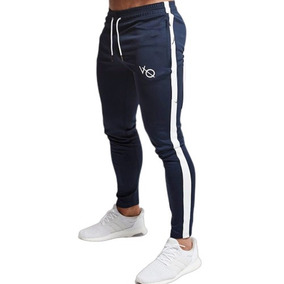 Pants Jogger Gym Crossfit Fitness Hombre Azul-blanco