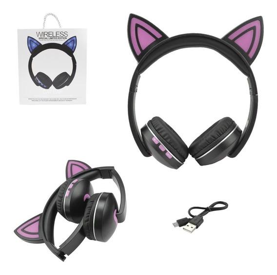 Headphone Fone Orelhas De Gato Gatinho Com Led Bluetooth