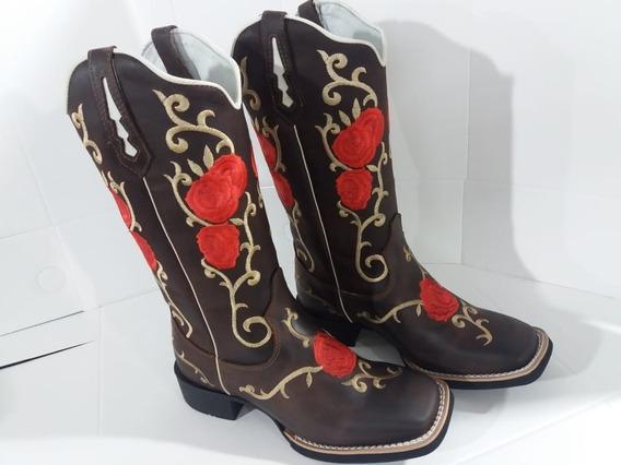 Bota Country Texana Feminina Cano Longo Bordada Preço Top