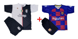 Kit Camisa Barcelona + Juventus Conjunto Infantil