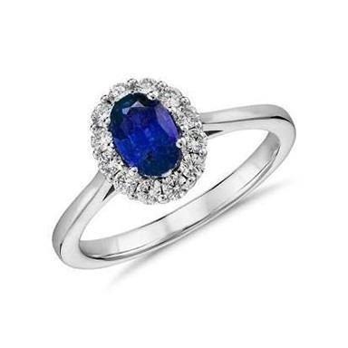 Conjunto Em Ouro Branco (anel + Brincos) Safiras E Diamantes