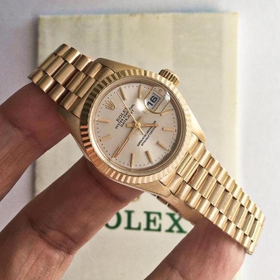 Rolex Lady-datejust Presidente Ouro Amarelo Completo