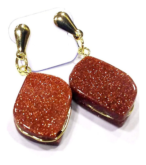 Brinco De Pedra Do Sol Folheado À Ouro Amuleto P/ O Sucesso