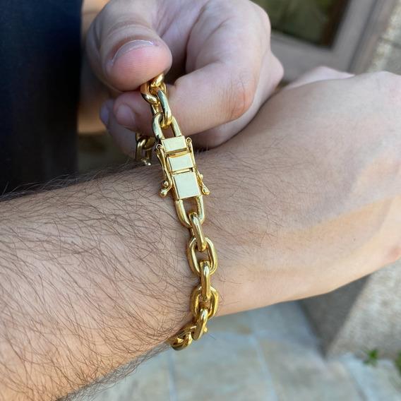Pulseira Cadeado Cartier 7mm Fecho Duplo Banhado A Ouro 18k