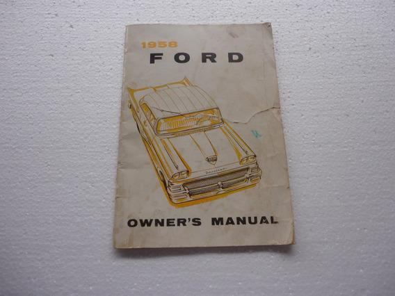 Manual Antigo De Carros Ford 1958 Americano Original Raro