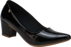 36ac024f80 Sapato Feminino Scarpin Salto Baixo Grosso Confort