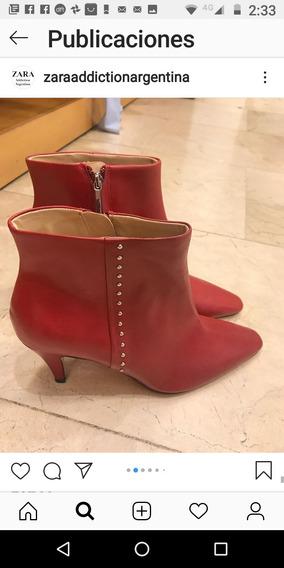 Botas Zara Cuero Rojas 39 Europeo