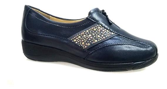 Zapato Para Dama Clinicus 9018 Triple Ancho En Piel Azul