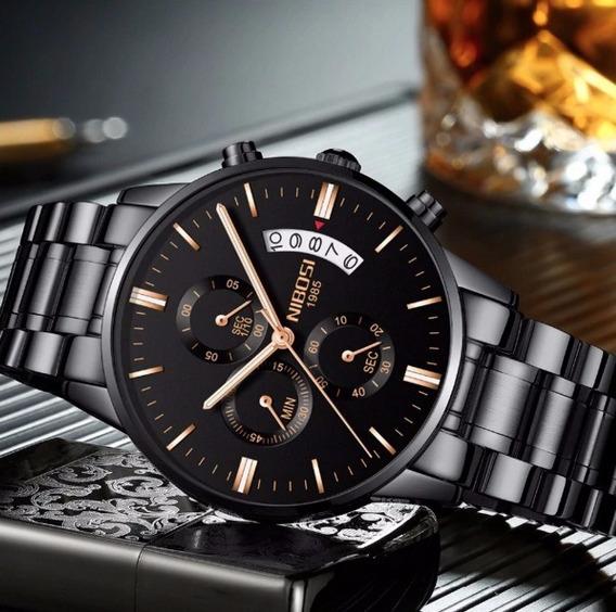 Relógio Masculino Suiço Nibosi Original Preto Com Garantia