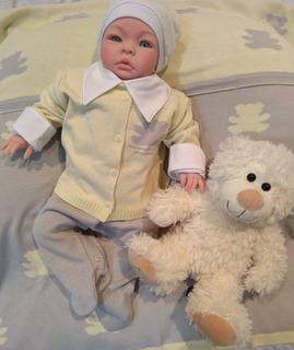 Saída Maternidade Tricô : Macacão + Casaco + Manta - Diversos Modelos E Cores - Kit Roupa Bebê E Recém Nascido